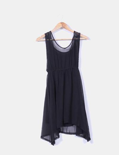 Vestido básico de gasa  negro NoName