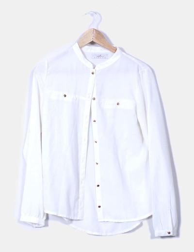 T-shirt blanc avec boutons en or Springfield
