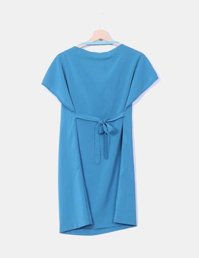 Vestido azul petroleo con paillettes