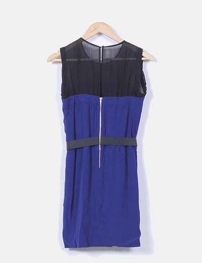 Vestido azul marino abullonado con cinturon elastico