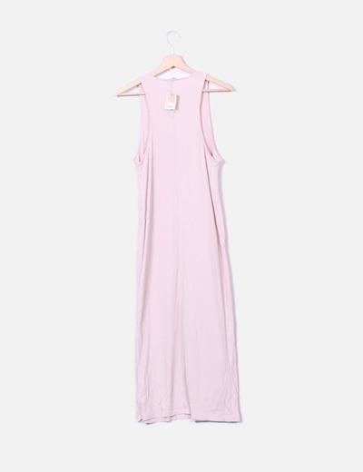 Maxi vestido plisado rosa