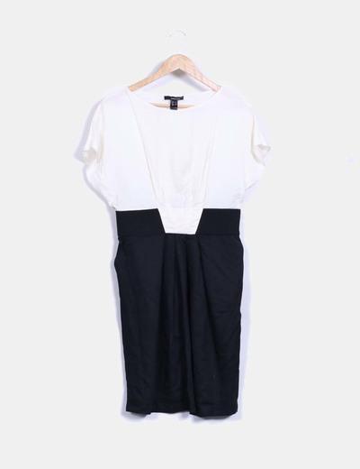 última venta colección de descuento calidad perfecta Vestido midi combinado negro y blanco