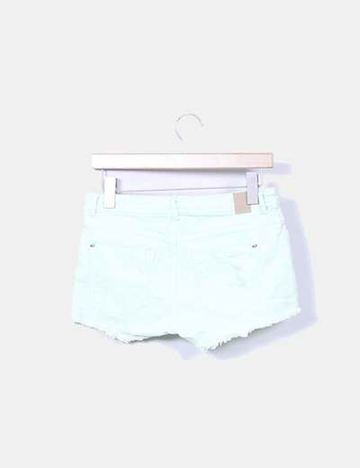 Short denim verde mint con rotos