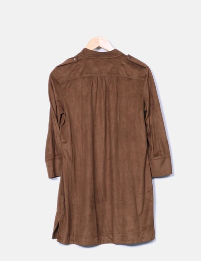 Vestido camisero marron terciopelado