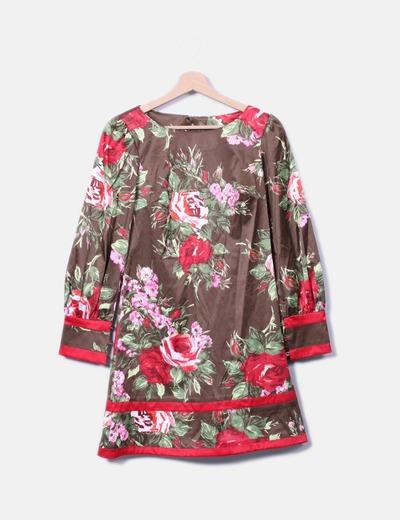 Vestido floral satinado Barbarella