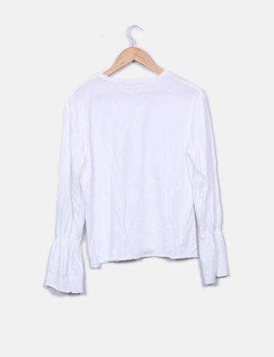 Camiseta basica blanca manga acampanada