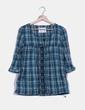Blusón de cuadros escote bordado mavi