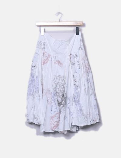 Falda estampada con vuelo Desigual