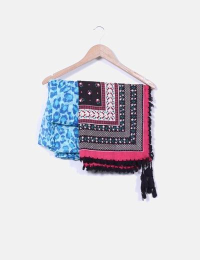 Conjunto de pañuelos azul animal print y rosa NoName