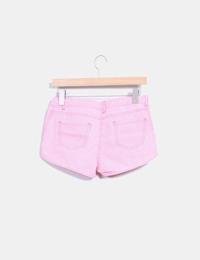 Short rosa fluor de rayas