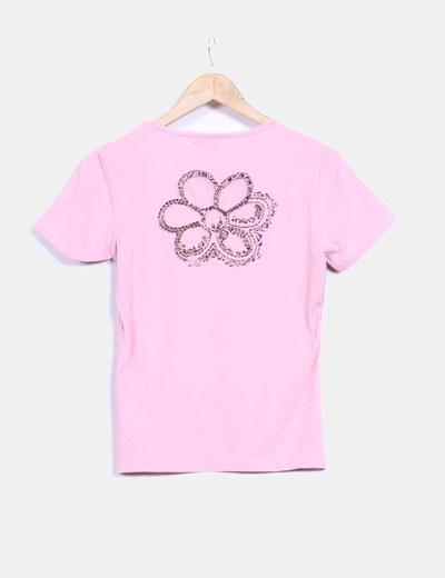 Camiseta manga corta rosa