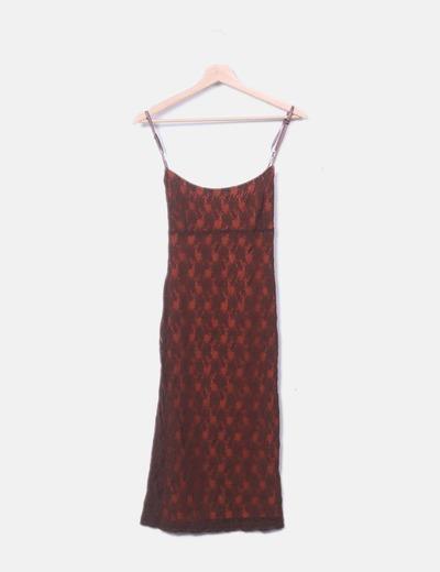 Vestido marrón encaje Suiteblanco