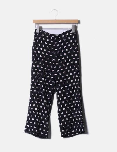 Pantalon noir imprimé floral Mango