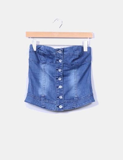 Corpiño vaquero escote corazón con botones Monica`s jeans