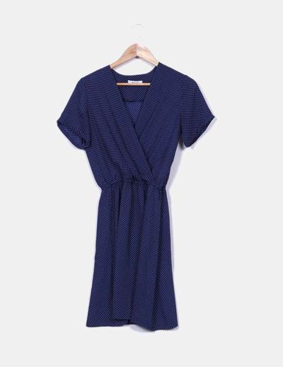 Vestido midi azul con topos blancos escote cruzado