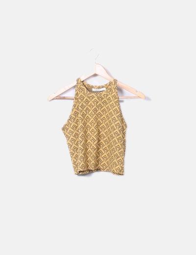 Conjunto top y falda amarillo estampado