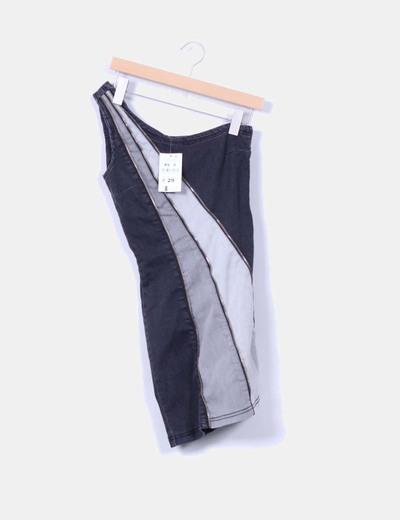 Vestido denim gris asimétrico Suiteblanco