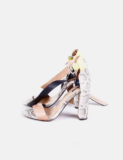 Sandalia tacón combinada Zara