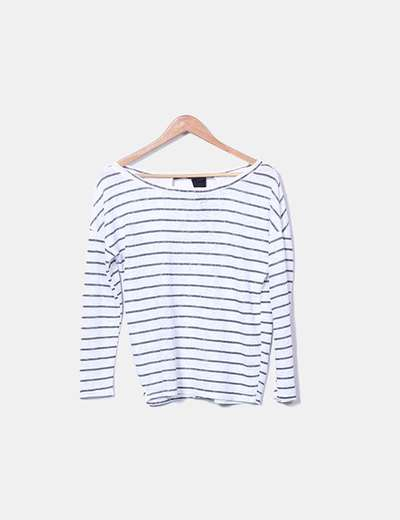 Jersey tricot blanco con rayas Bershka