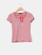 Camiseta rosa de manga corta con pedrería Lucchini
