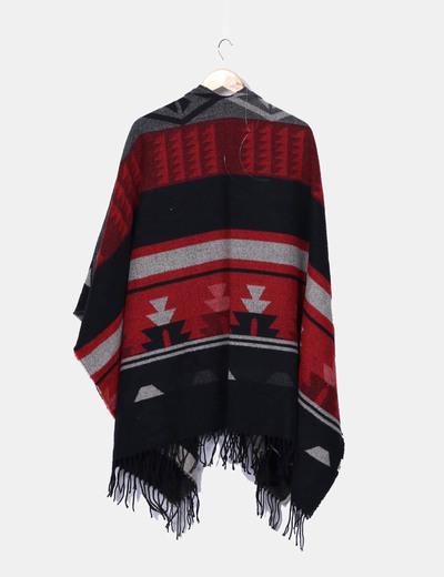 Capa lana etnica con flecos