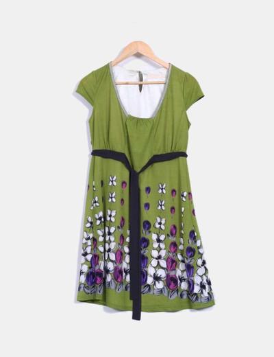 Vestido midi verde estampado BDBA