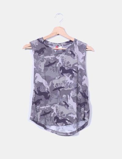 Top estampado en tonos grises H&M