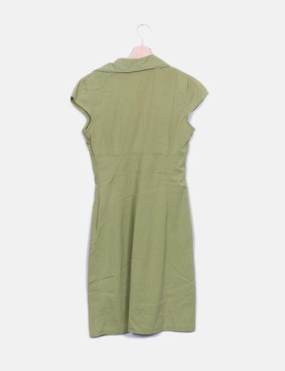 Vestido escote drapeado verde