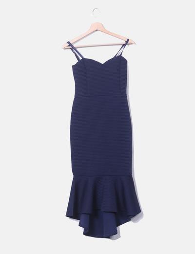 Vestido maxi azul marino volante