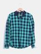 Camisa de  cuadros azul y verde Zara