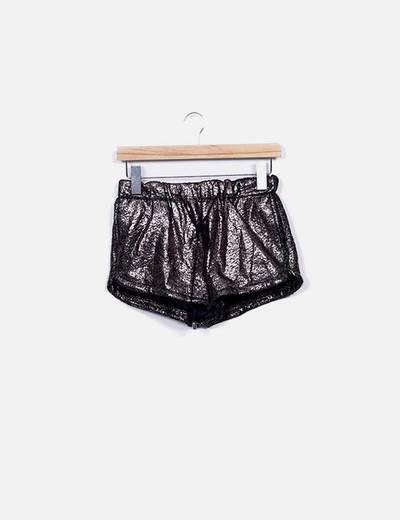 Shorts glitter plata texturizado NoName