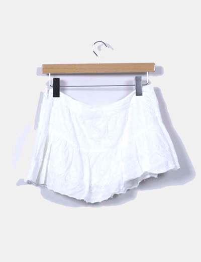 Mini falda guipur blanco