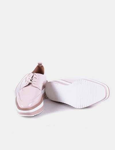 Zapatos blucher charol rosa palo