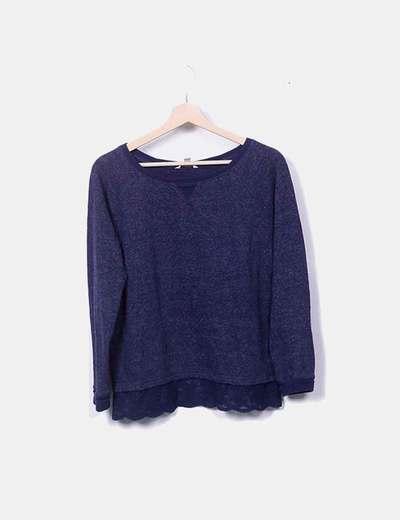 Suéter tricot azul marino