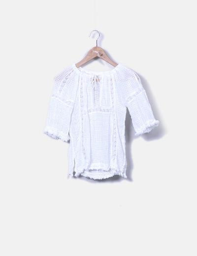 Blusa blanca manga francesa NoName
