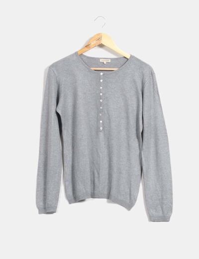 Jersey fino gris con botones Tex Woman