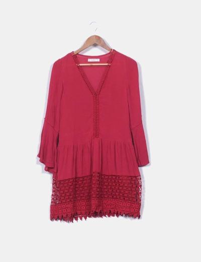 Vestido crochet granate Pull&Bear