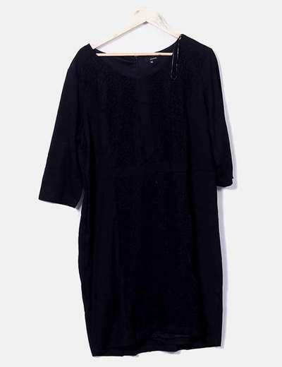 Vestido negro crochet Couchel