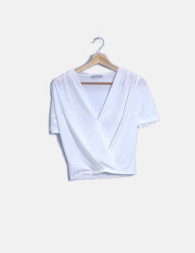 Blusa drapeada blanca