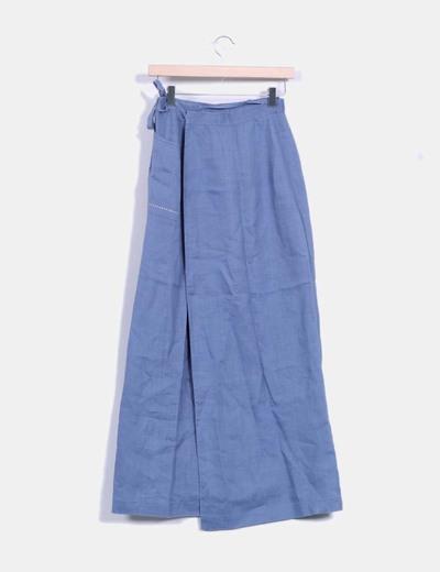 Falda azul tipo pareo