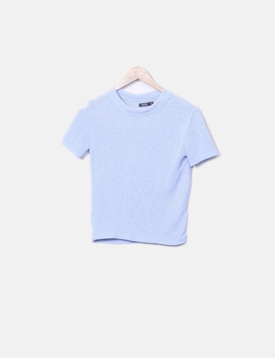 Camiseta tricot azul manga corta