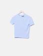 Camiseta tricot azul manga corta Bershka