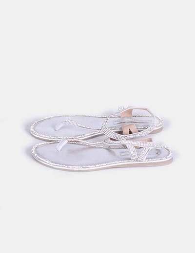 Sandalias strass plata Suiteblanco