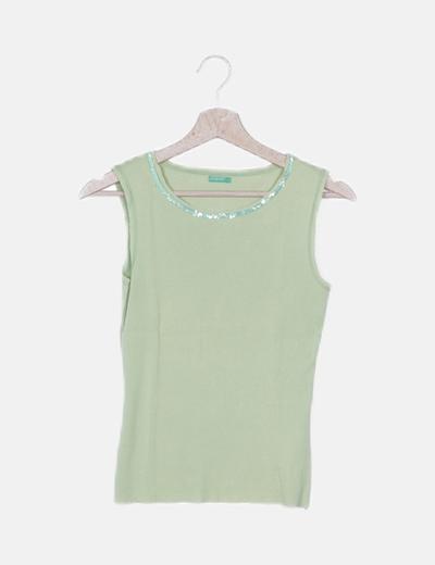 Camiseta verde paillettes