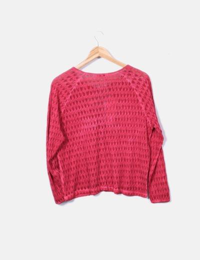 Chaqueta tricot roja calada