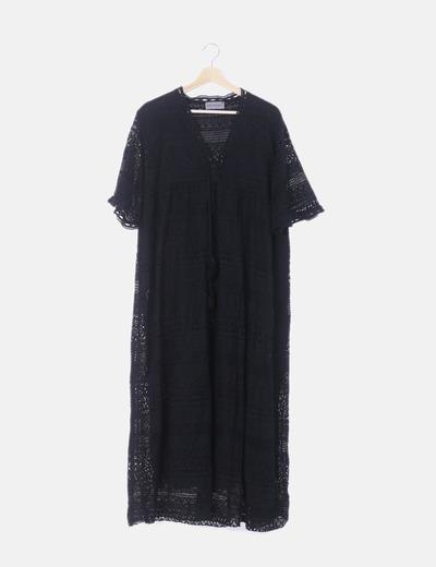 Maxi vestido negro de encaje