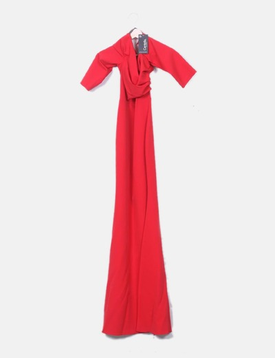 Maxi vestido rojo escote bardot
