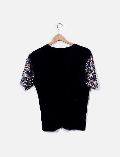 Lentejuelas Camiseta Con Mangas Negra Con Camiseta Negra Mangas Lentejuelas Camiseta Negra OPulTwkXZi