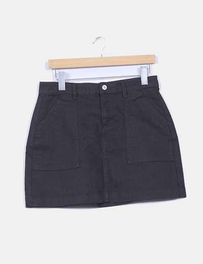 Falda negra vaquera H&M