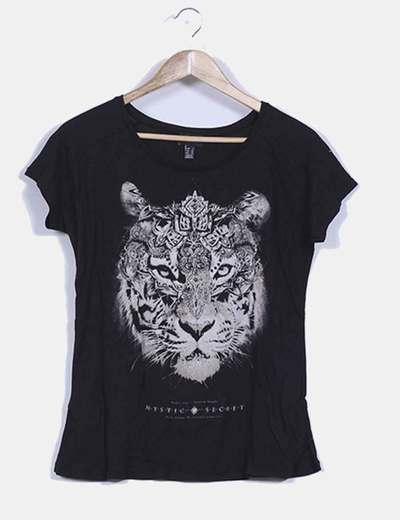 Top negro print tigre Mango